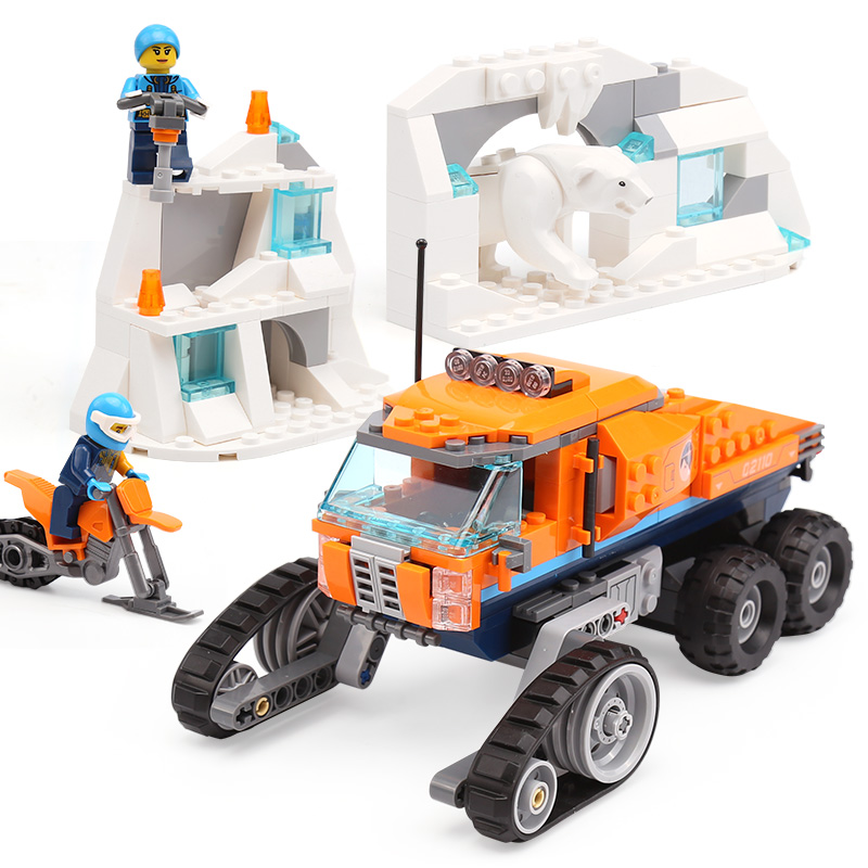 Lepin 02110 New City Car Toys The legoinglys 60194 Arctic Scout Truck Set Building Blocks Bricks Girls Birthday Gifts Car Model lepin 02112 new city series the arctic supply plane set 60196 building blocks bricks legoinglys toys model boy christmas gifts