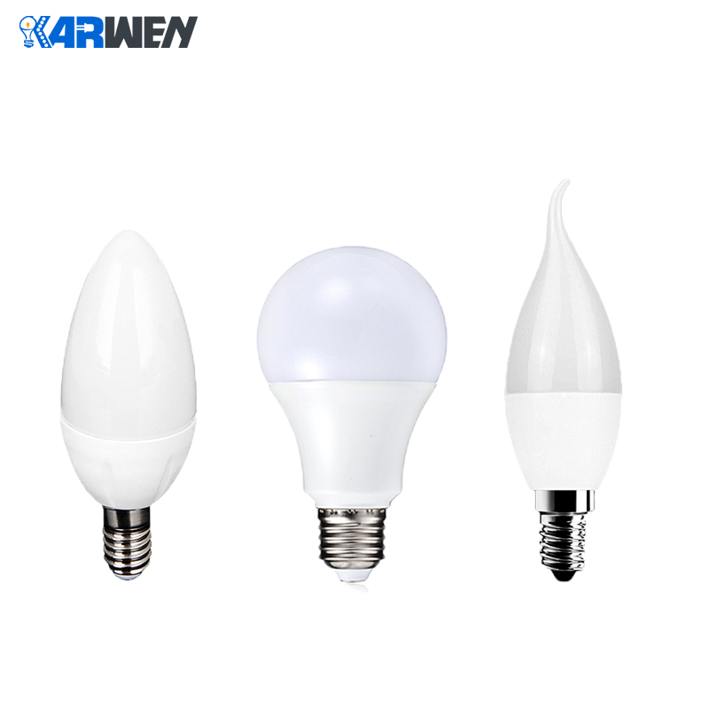 KARWEN Lampada LED Bulb Lamps E27 E14 3W 5W 7W 9W AC 220V Candle Light SMD 2835 Cold Warm White For Home Decoration Bombilla LED
