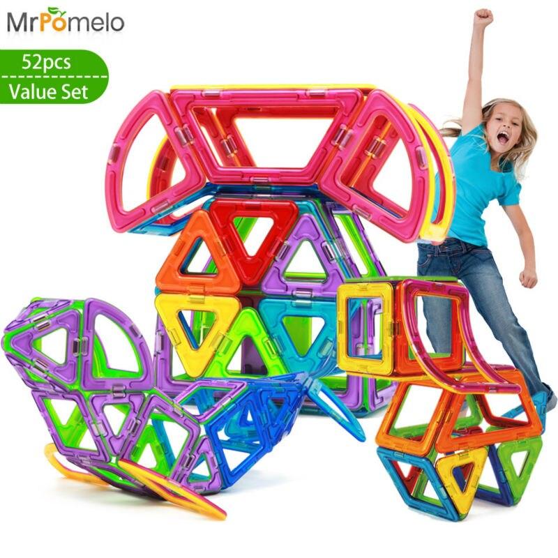 MrPomelo 52pcs Big Size Magnetic Blocks for Kids Designer 3D Models Building Toy Enlighten Plastic Kits Educational Toddler Toys magnetic 77 82 89pcs magnetic kits building models toy with windmill car enlighten plastic educational for toddlers yoyo diy