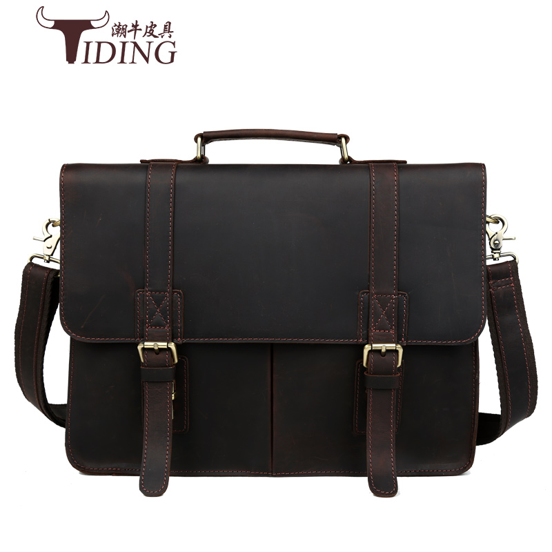 Crazy Horse Genuine Leather Men Bag Men Briefcase male Leather business Laptop Bag Crossbody Bags for Man handbags 15 bags augus 100% genuine leather laptop bag fashional and classic crossbody bags leather for men large capacity leather bag 7185a