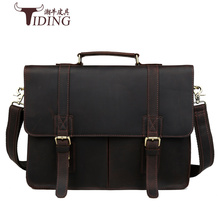лучшая цена Crazy Horse Genuine Leather Men Bag Men Briefcase male Leather business Laptop Bag  Crossbody Bags for Man handbags 15