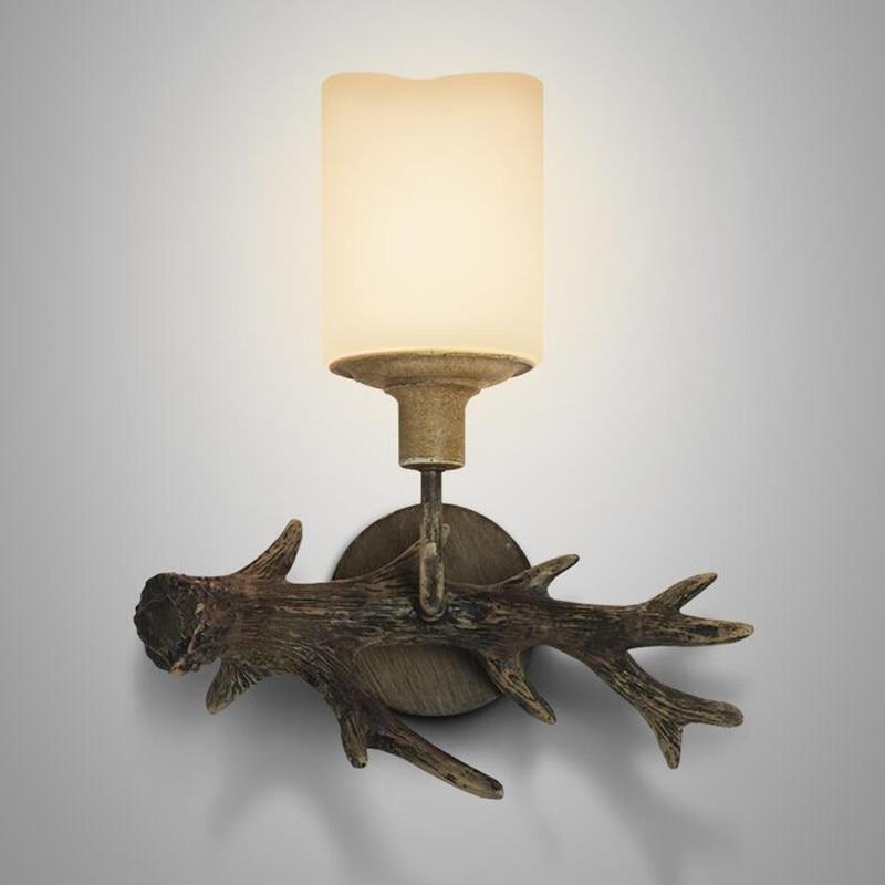 Американский стране настенный светильник рог оленя свечи абажур бра Книги по искусству-деко Ретро деревянный смолы рога бра бесплатная дос... ...