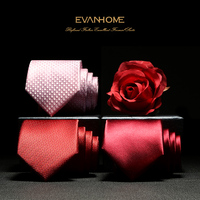 2017 New Arrivals Fashion 7CM Wedding Ties for Men Faux Silk Jacquard Formal Business Party Neckties Wine Red Ties with Gift Box