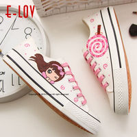 E LOV 13 Special Painting Unisex Designs Hand Painted Canvas Shoes Personalized Women Men Adult Casual