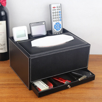 Quality leather multifunctional desktop storage box wood tissue box remote control box pumping paper box fashion