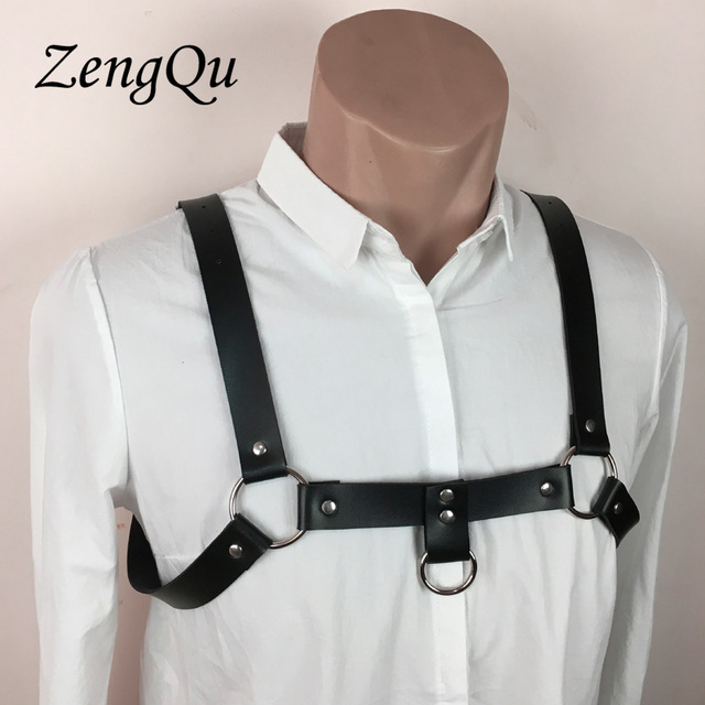 New Men Sexy Punk Faux leather Adjustable chest garters chest belt leather suspenders  Belt for Male