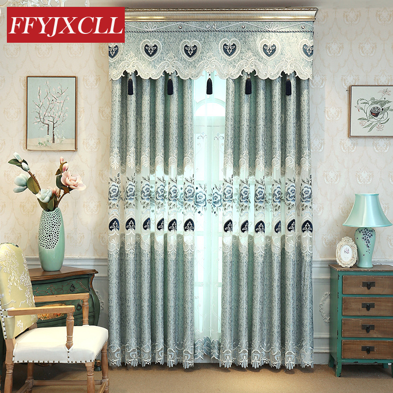 Jacquard Embroidered Openwork Half Shading Curtains Tulle For living Room Bedroom Kitchen Polyester Curtains Cloth Valance window valance