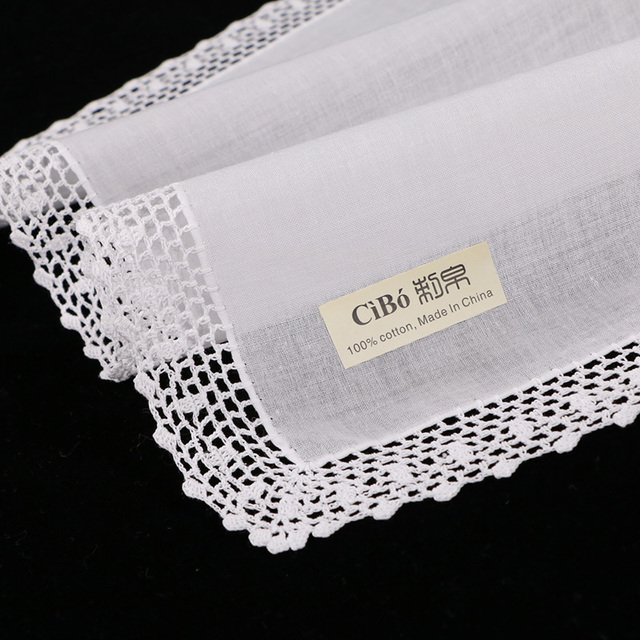 100 Cotton Hand Crochet Lace Blank Handkerchiefhankie 12 Piecelot