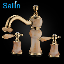 2017 New Arrival Luxury Ceramic Jade Artistic Basin Faucet Widespread Deck Mounted Bathroom Faucets Dual Handles 3 holes