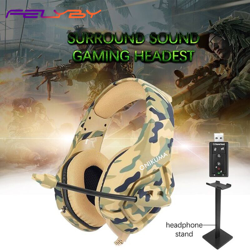 FELYBY Camouflage Basse Gaming Casque PS4 Applicable à Mobile Ordinateur 3.5mm + USB Interface Filaire ecouteur