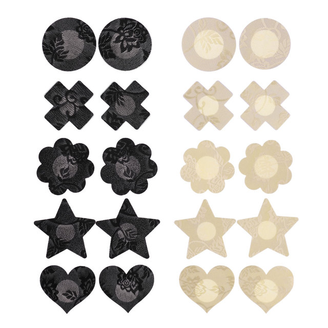 Invisible Lift Bra Stick On Strapless 16 Pairs Nude Black Nipple Covers Pasties