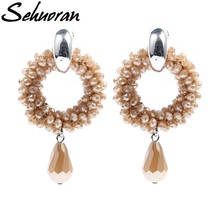 2017New hot sale earings Long For Woman with Copper round and crystal oorbellen statement  drop earrings pendants