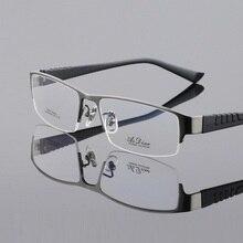 Width-145 Ttitanium Eyeglasses Frames Men Halfl-Rim Myopia G