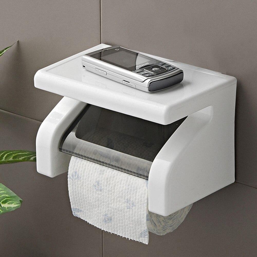 Toilet Paper Holder Tissue Holder screws mounting Roll Paper Holder Box Tissue Dispenser Case Bathroom Storage Organizer