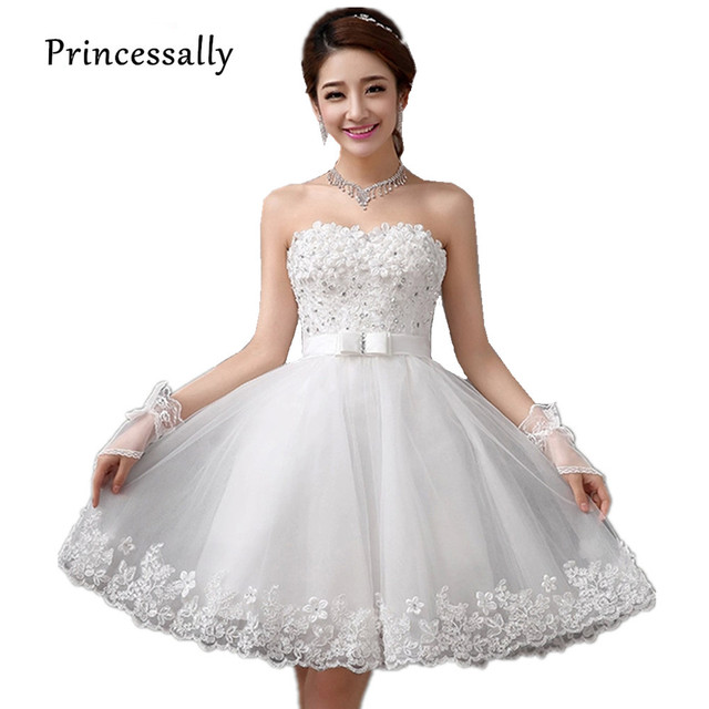 Vestido de boda corto sin tirantes blanco con flores rebordear ...