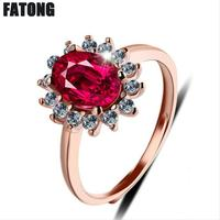 925 sterling silver ring Korean temperament ruby rose gold ladies open ring fashion boutique jewelry J0417