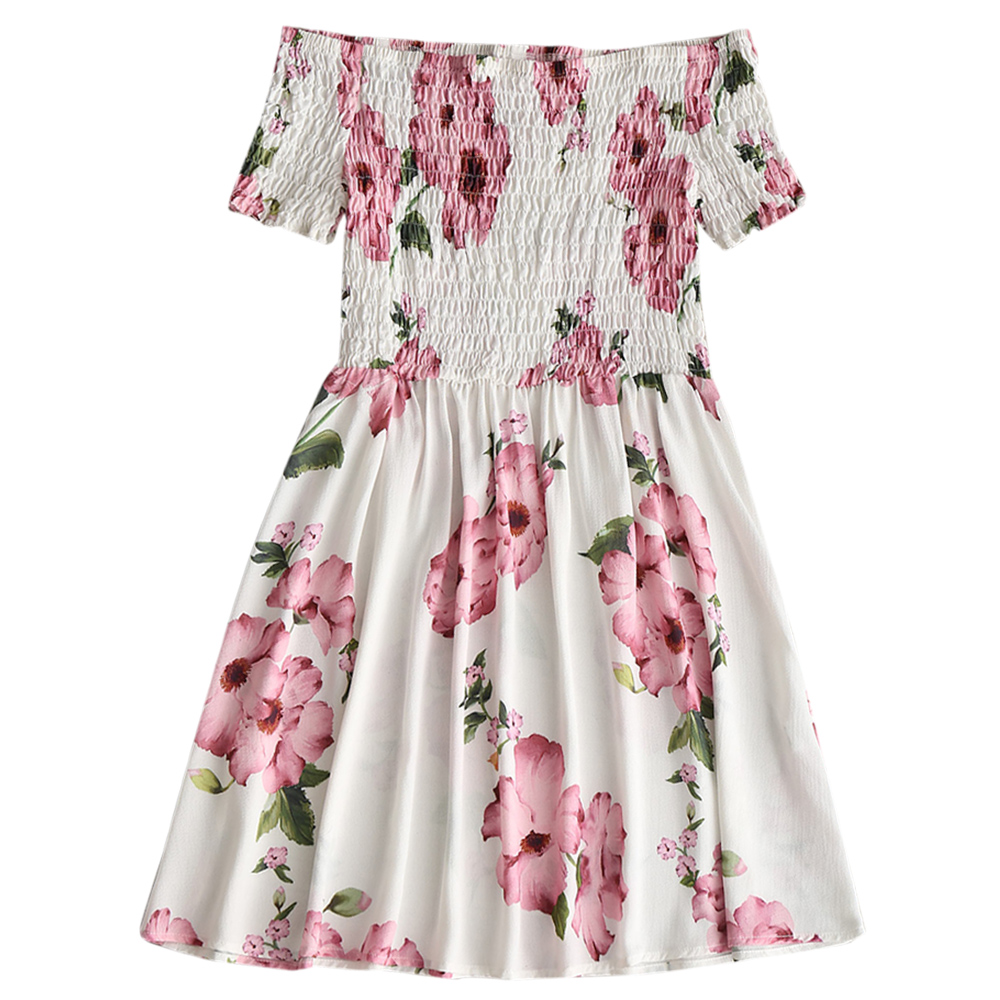 HTB1TeEUo4rI8KJjy0Fpq6z5hVXap - Off Shoulder Smocked Flower Flare Dress JKP343