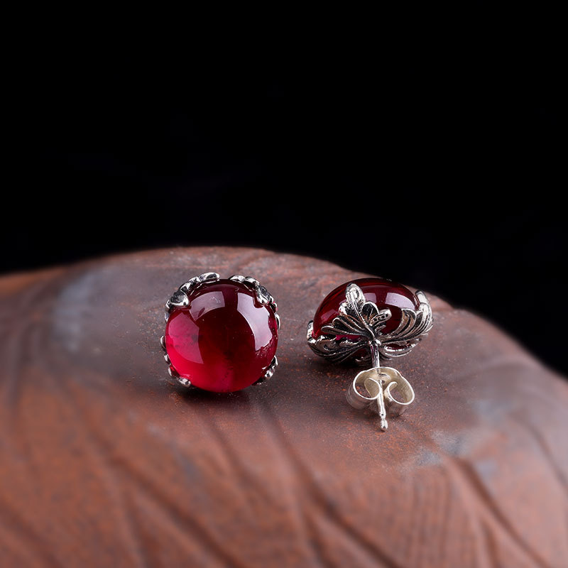 L & P 2019 nouvelle mode véritable argent grenat boucles d'oreilles pour dame Original DeElegance 925 Sterling-argent luxe bijoux fins - 2