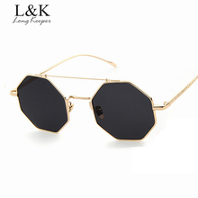 Long Keeper 2017 New Womens Sunglasses Octagonal Design Sun Glasses Coating Female Sunglasses Star Style Eyewares Black Gold