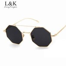 Long Keeper 2019 New Womens Sunglasses Octagonal Design Sun Glasses Coating Female Sunglasses Star Style Eyewares Black Gold