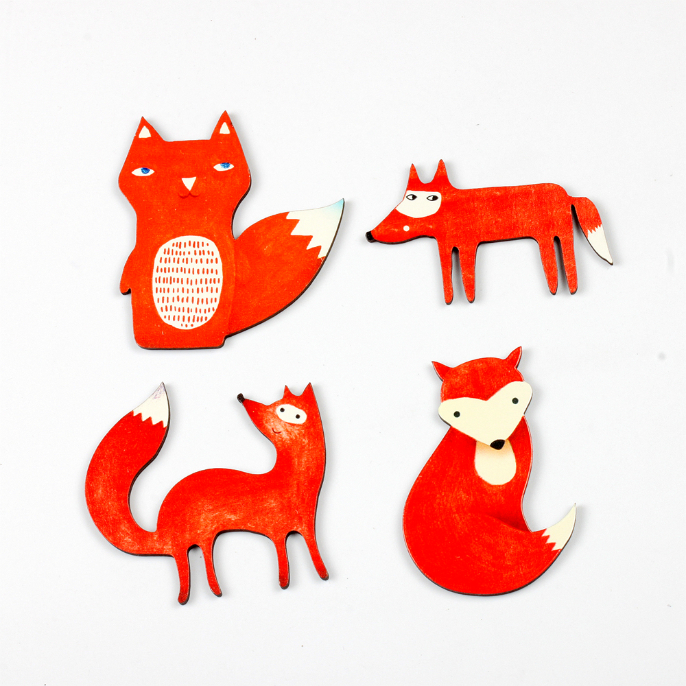 4pcs Vintage Fox Different pattern Collection Wood Cut Charms make Pendant Bracelets Brooch DIY(WO-E)