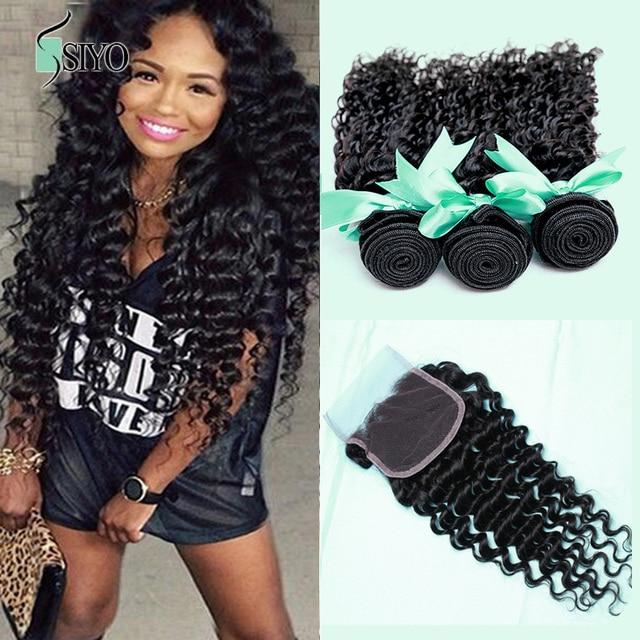 7A Peruvian Virgin Hair With Closure Peruvian Deep Curly Human Hair 3 Bundles Peruvian Deep Wave Virgin Hair With Closure