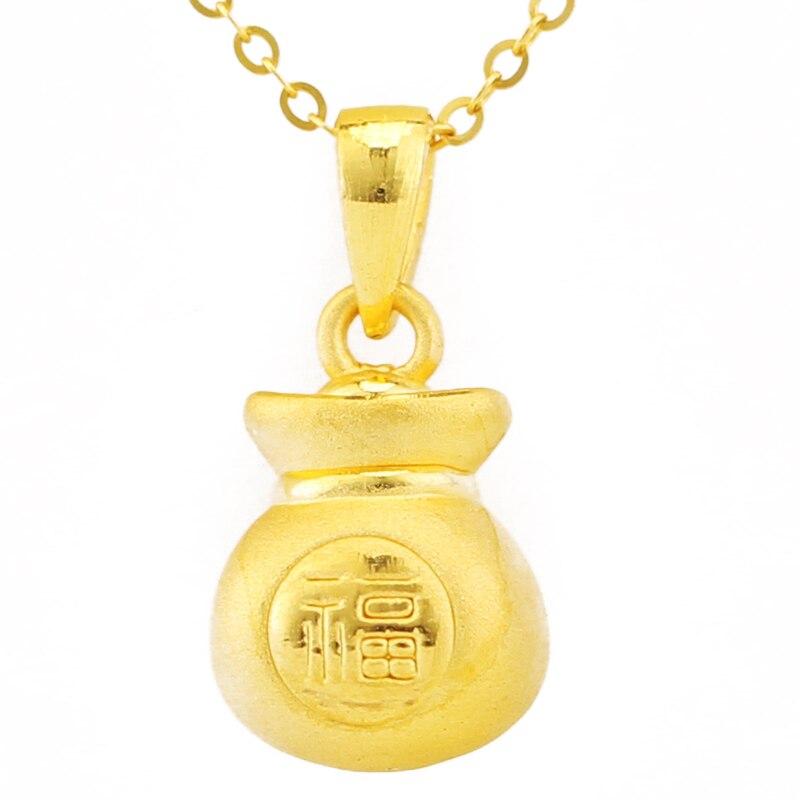 Pure 999 Solid 24 K Ciondolo In Oro Giallo 3D Fu Pendente Del Sacchetto 1.24gPure 999 Solid 24 K Ciondolo In Oro Giallo 3D Fu Pendente Del Sacchetto 1.24g