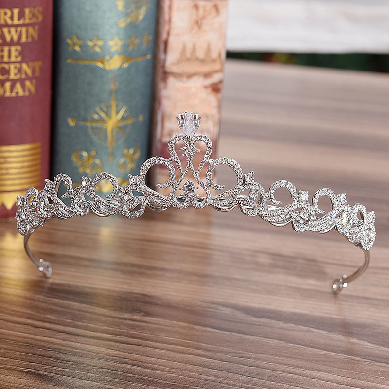 Fashion Silver Rhinestone Princess Tiara and Crown for Bride Noiva Diadem Wedding Accessories Bridal Hair Jewelry Headpiece LB
