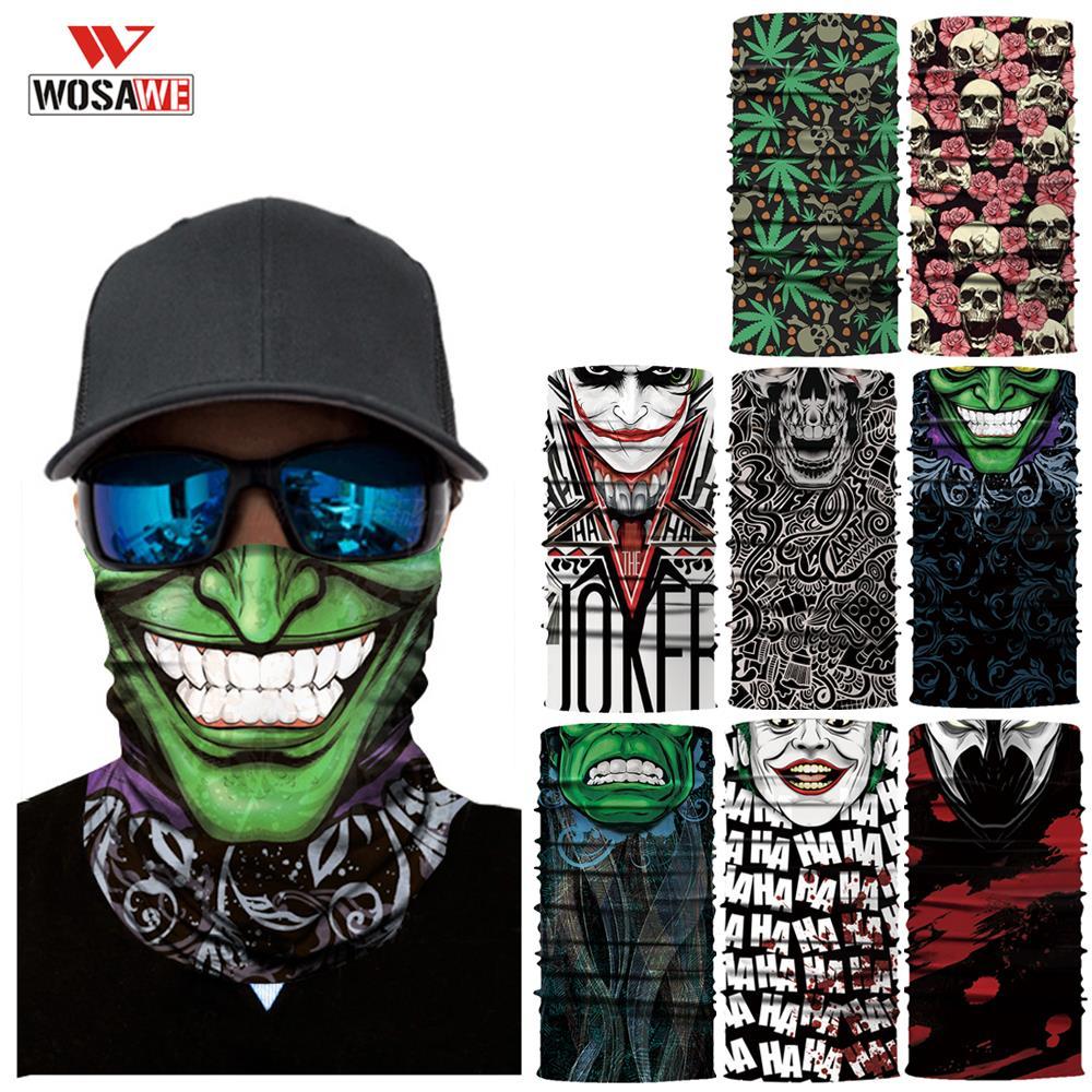WOSAWE Motorcycle Mask Balaclava Head Scarf Masks Face Shield Anti-UV SKULL Ghost Mask Bandana Cycling Snowboarding Hiking Scarf
