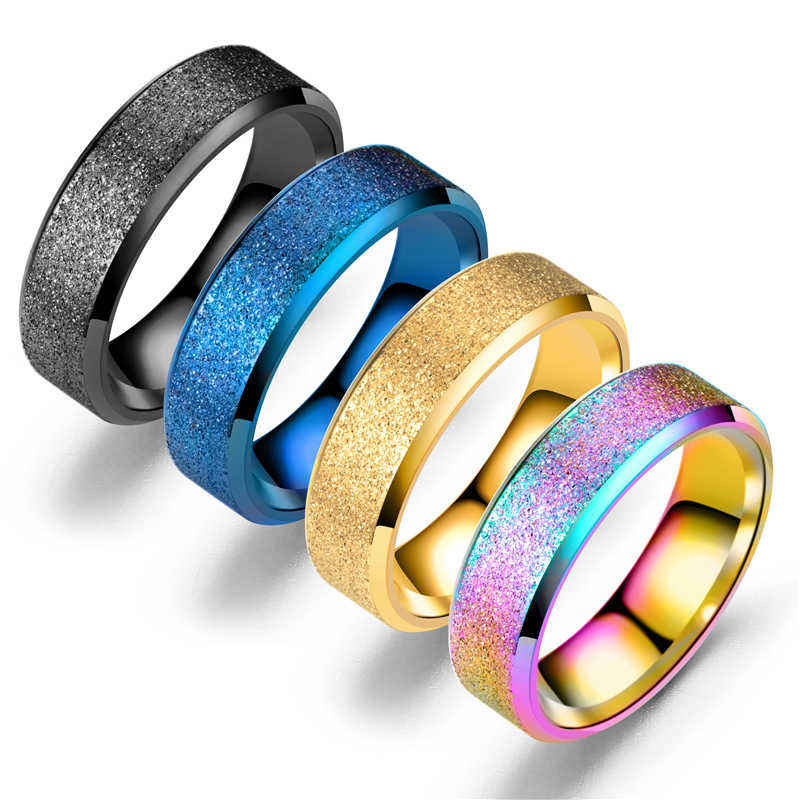 6mm High Quality Spinner Colorful Rings Men Charm Stainless Steel Matte Rings For Women Fashion Wedding Jewelry Gifts