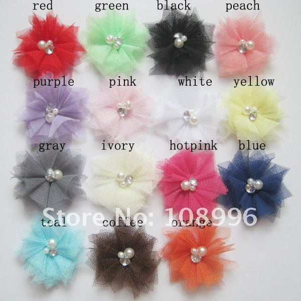 Free Shipping!200pcs/lot 2.5inches Mini Tulle Mesh Flowers With Rhinestone Pearl Center Poof Flowers headband Accessories15color