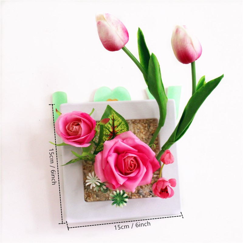 NEW 3D Artificial Tulip Rose flowers Fake plants Imitation wood photo frame  Home wall garden decoration f79deeb946