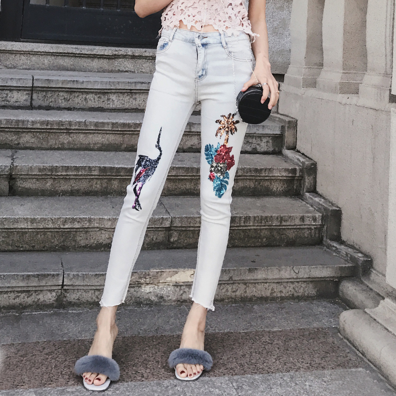 Women Tropical Sequin Skinny Jeans With Raw-cut hem Fashion White Sequin Pencil Jeans