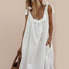 Women Dress Sleeveless O Neck Bow Bandage Strap Backless Solid Boho Summer Maxi Dress Streetwear Women Beach Dress vestidos D30 solid color sleeveless bow knot maxi dress