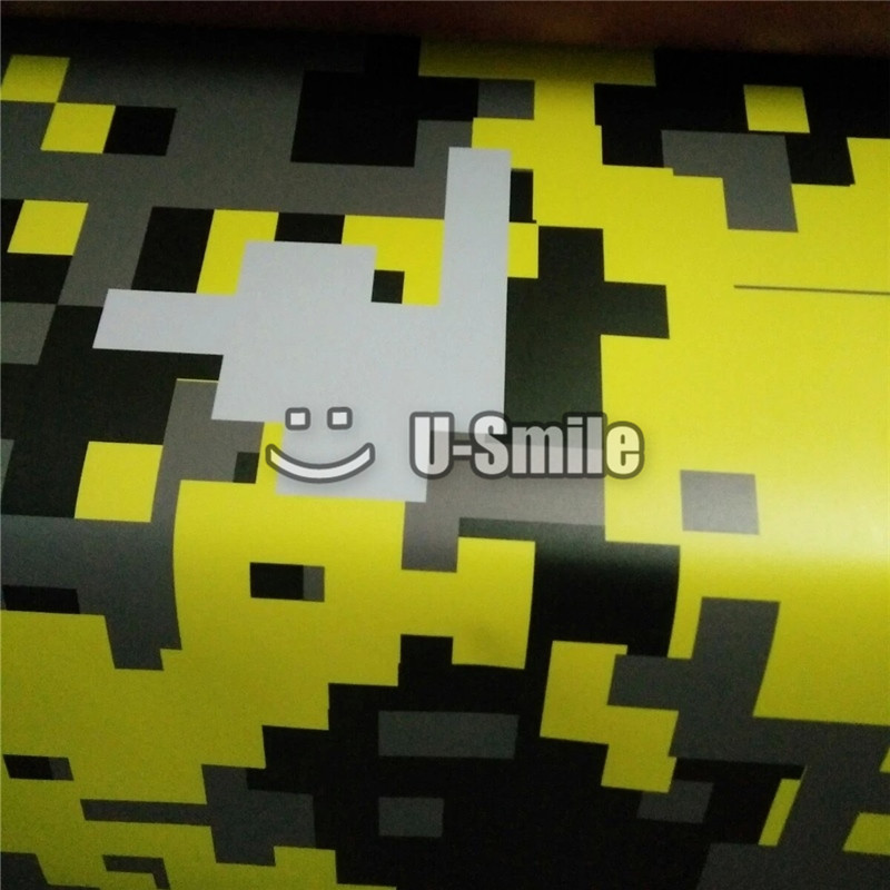 Giallo Digital Camo Pellicola Del Vinile Copriletto Pixel Camouflage Wrap Per Il CAMION SUV Autoadesivo della Bolla di Spedizione Size1.52 * 30 m/ rotolo - 3
