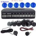 Car Parking Sensor Sound System Auto Reverse Backup Radar Detector sound alert buzzer 6 Sensors round shape 44 colors available