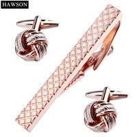 Luxury Rose Gold Màu Tie Bar Cuff liên kết Thiết Lập Đánh Bóng Mô Hình Xoắn Khuy Măng Sét 2 Nút