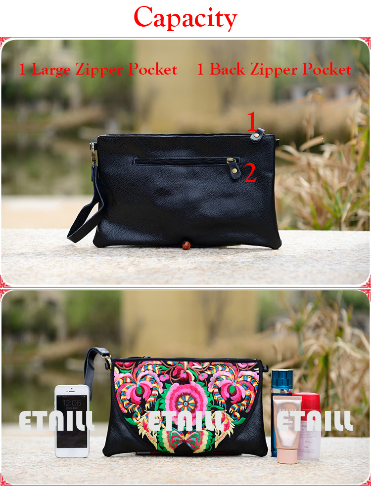 Embroidered Women PU Leather Bag