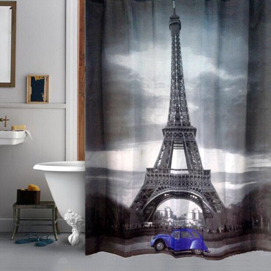 150x150d tessuto in poliestere bagno prodotto eiffiel torre impermeabile tende da doccia 180x180 cm da bagno