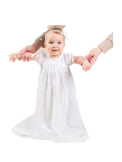 BABY WOW White Baby Girl Christening Gowns dress + Head hoop, Baptism Dresses Bautizo Vestido Infantil 90136