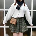 2017 Preppy Style high waist slim elastic woolen A-Line short skirt vintage plaid bust skirt XY2005