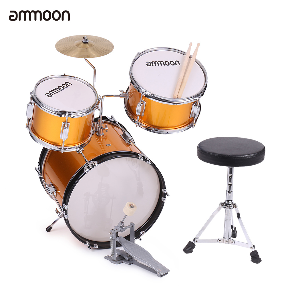 Ammoon 3 Piece Drum Kit Kids Children Junior Drum Set