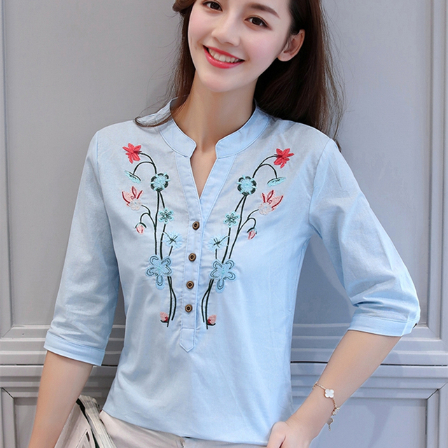 Summer New V-neck formal Women Blouse shirt half Sleeved Cotton Linen Floral embroidered women's clothing tops blusas d377 30