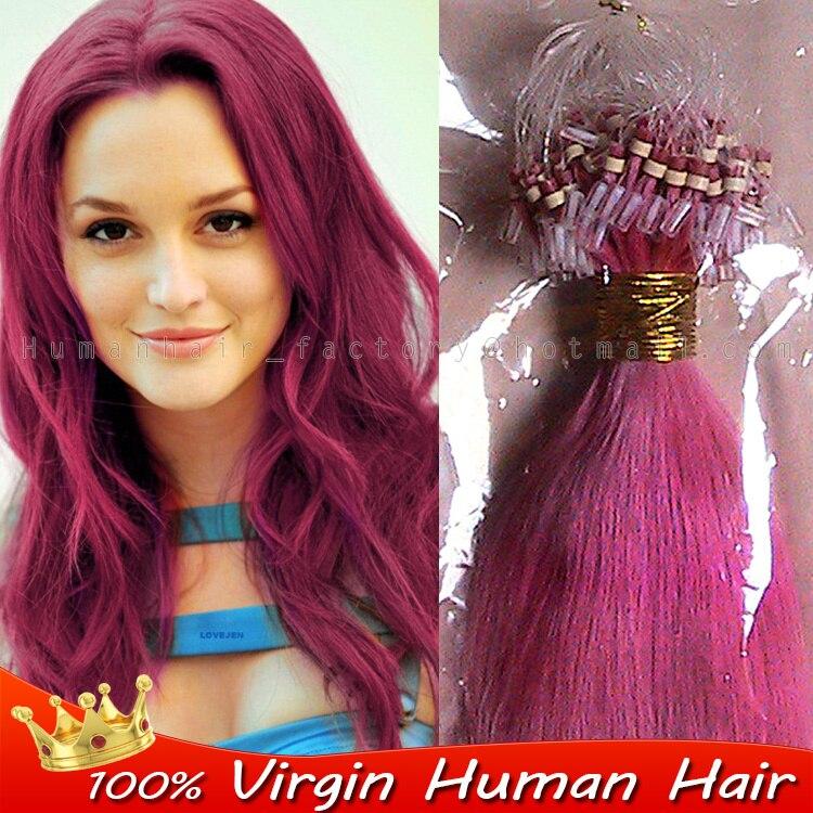 Brazilian Pink Ombre 100 H Uman Hair 100spack Micro Ring Loop Hair