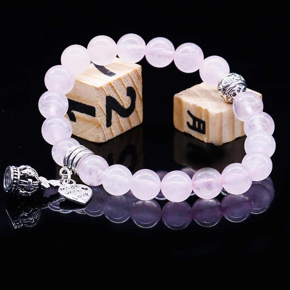 Naturalny kamień różowy kryształ bransoletki i Bangles dla kobiet mężczyzn kolor srebrny wisiorek Charm bransoletka Casual biżuteria prezent miłosny