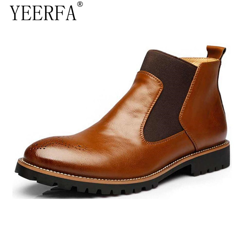 Spring/Winter Fur Men Chelsea Boots British Style Fashion Ankle Boots Black/Brown/Red Brogues Soft Leather Casual Shoes zunyu new autumn winter men s chelsea boots luxury british style fashion ankle boots black brown blue soft leather casual shoes