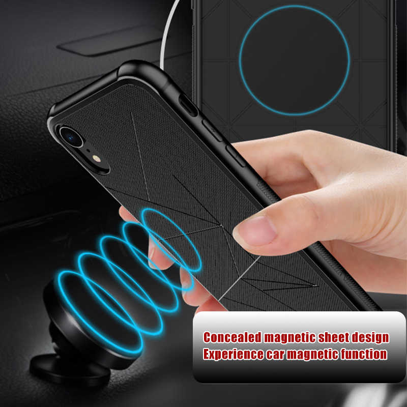 GerTong Ultra-thin Black Magnetic Case for iPhone 6S 7 6 8Plus Xs Max XR Soft TPU Capa for iPhoneX Cover Magnet Car Phone Holder