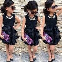 2016 Summer Baby Kids Girls Princess Tutu Dress Party Summer Black Striped Tulle Dress 2 7Y