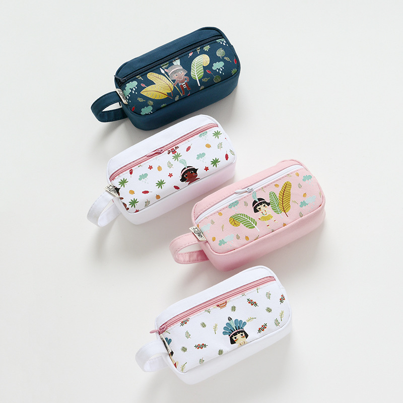 Cute girl pen pencil case Big capacity Canvas material storage pencilcase organizer for Stationery Office school supplies F406 cute cat pen holders multifunctional storage wooden cosmetic storage box memo box penholder gift office organizer school supplie