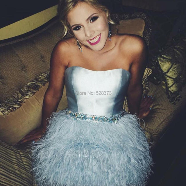 YNQNFS CD37 Sweetheart Crystal Beaded Light Blue Mini/Short Feather Prom Dresses Party Dress